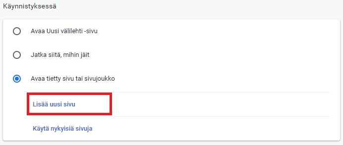 Chrome aloitussivu käyttöön