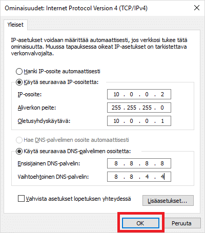 Uusi ip-osoite Windows 10