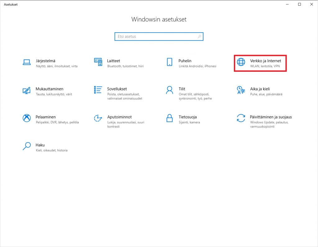 Windows 10 verkko ja internet