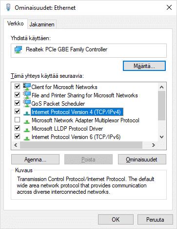 Internet protocol version (TCP/IPv4)