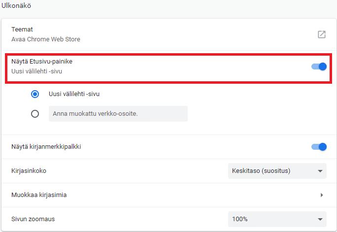 Chrome etusivu käyttöön