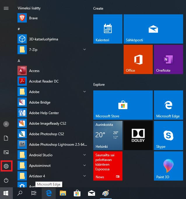 Windows 10 asetukset