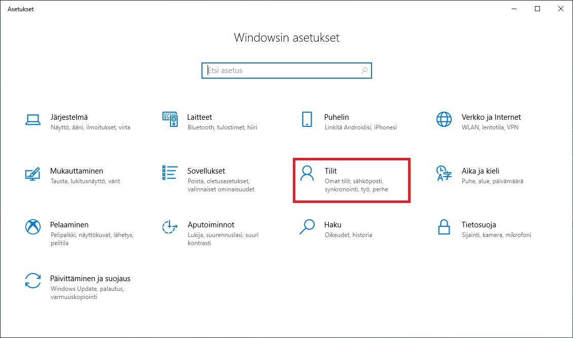 Windows 10 tilit
