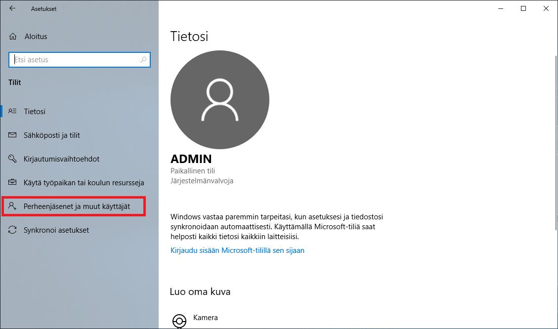 Windows 10 perheenjäsenet ja muut käyttäjät