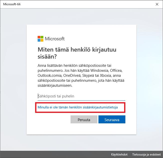 Windows 10 Microsoft-tili