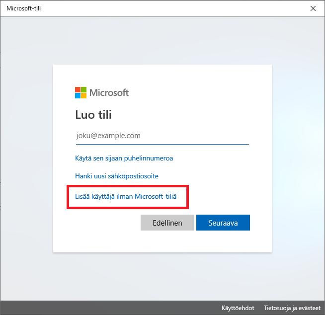 lisää käyttäjä ilman Microsoft-tiliä