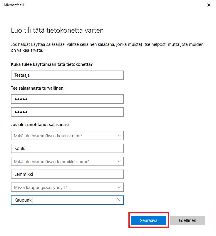 Windows 10 käyttäjän turvakysymykset
