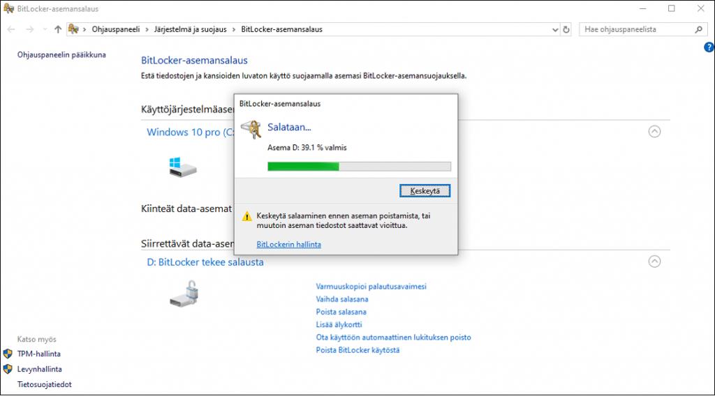 USB-muistitikun salaaminen Bitlocker ohjelmalla