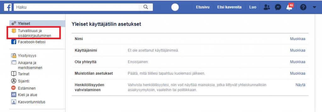 Facebook kirjautuminen