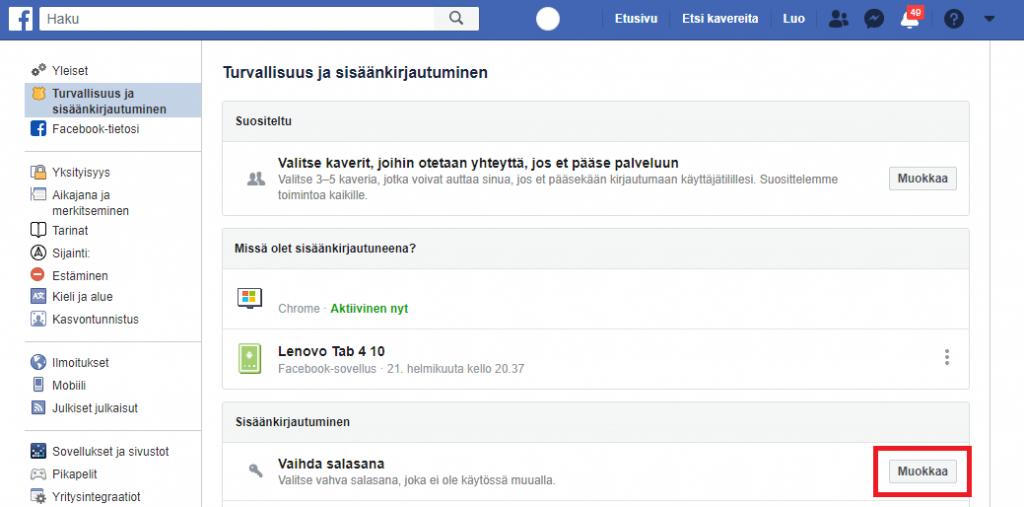 Facebook Salasanan Vaihto