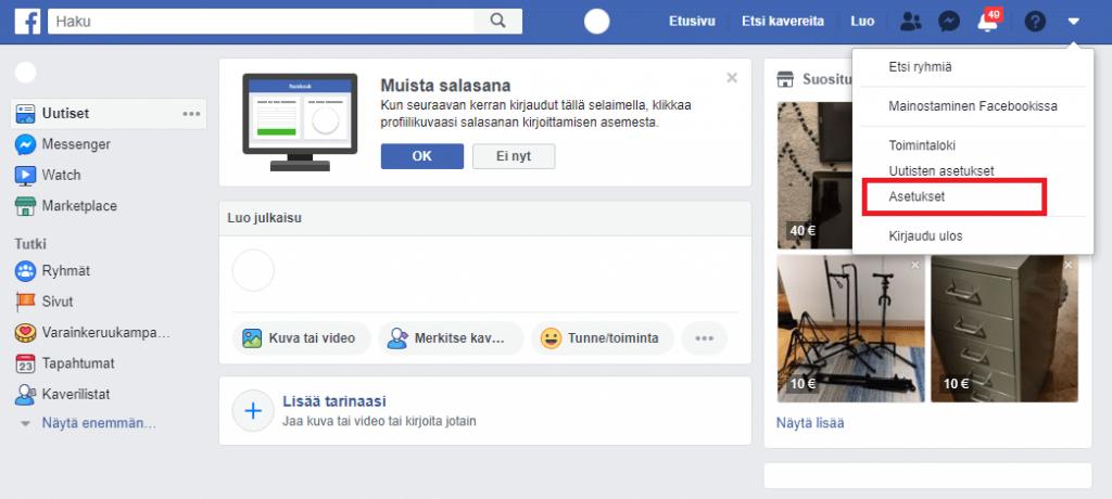Facebook asetukset ja salasanan vaihto