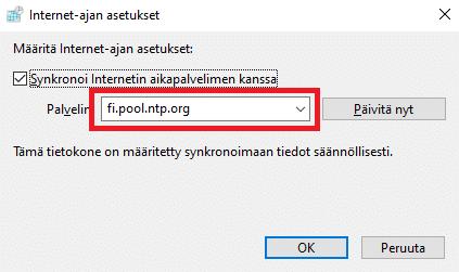 Windows 10 aikapalvelin määritys