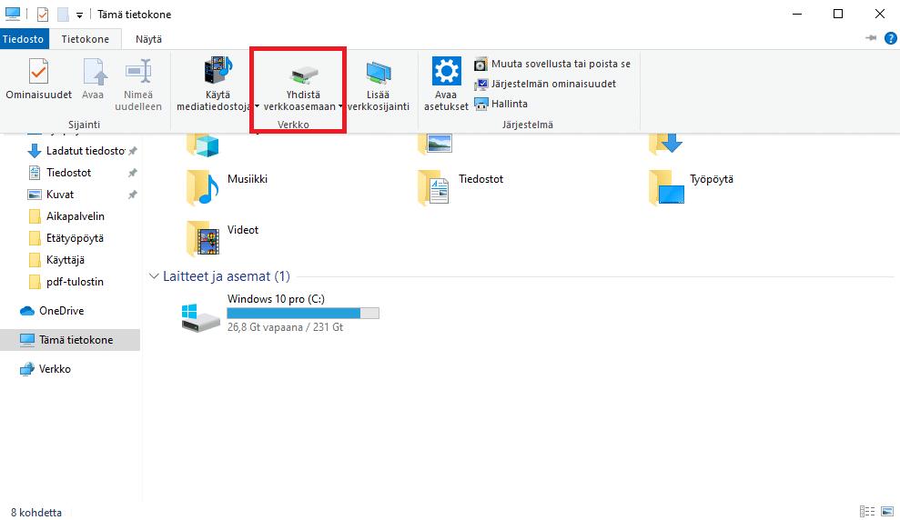 Windows 10 tietokoneen yhdistäminen verkkoasemaan