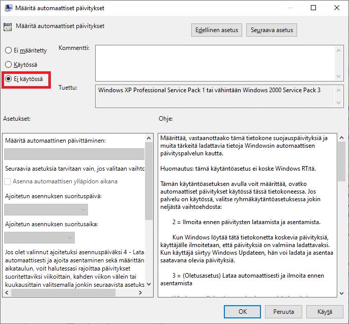 Windows 10 automaattiset päivitykset pois käytöstä.